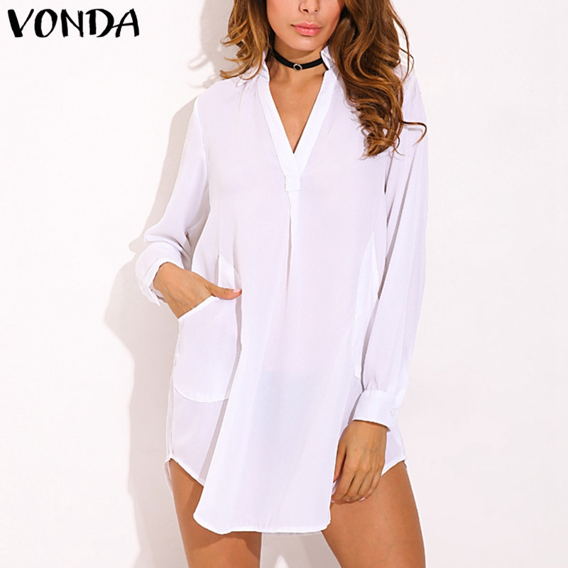 VONDA Pregnant Women Sexy Mini Dress 2018 Casual Loose Lapel Long Sleeve Solid Asymmetrical Chiffon Pregnancy Vestidos Plus Size