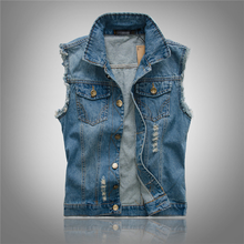 New 2019 Mens Sleeveless Jeans Jacket Men Oversize 6XL Blue Black Denim Jeans Vest Men Cowboy Denim Vest Mens Jeans Waistcoat(China)