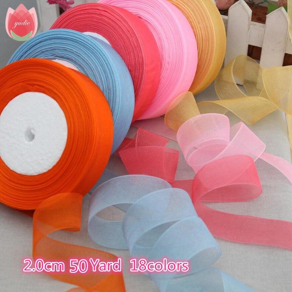 Cotton 20mm 50 Yard/Rolls 44M Transparent Silk Organza Polyester Ribbon For Wedding Christmas Decoration Webbing Gift Pack Belt