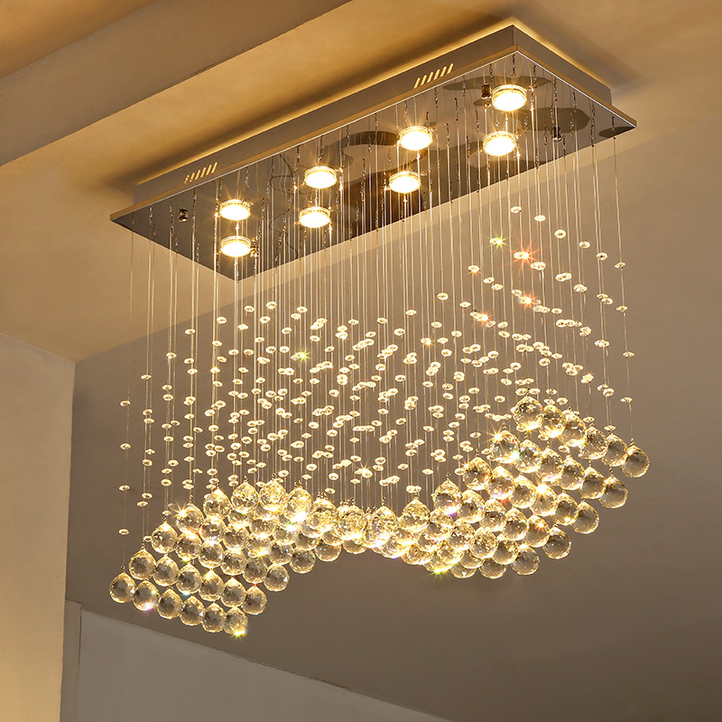 Rectangle crystal lamp dining room pendant light individuality brief lamp modern bar counter rectangle crystal restaurant