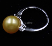 AAA 11 мм круглые золотые Южной морской воды Перл кольцо стерлингового серебра 925