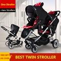 Легкая детская коляска для близнецов, до и после, двойная коляска, легко складывается, два способа, расположение лицо к лицу, автомобильное кресло