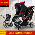 Light Twins baby stroller before and after the double stroller light folding stroller two way face to face direction car seat