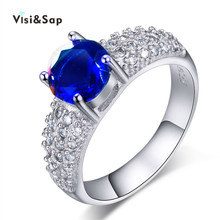 Visisap White Gold color Wedding rings For Women AAA cubic zirconia size 5 10 vintage Engagement