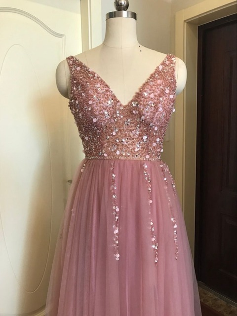 Beading Prom Dresses 2019 V neck Pink High Split Tulle Sweep Train Sleeveless Evening Gown A-line Lace Up Backless Vestido De 4