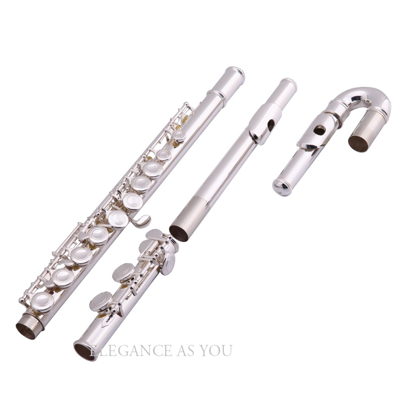 Children's flute mouthpiec double flute head 16 hole closed hole plus E key silver C flute suitable for beginners performance inventory students 16 hole closed plus the e key the obturator flute music instrument black silver grant ocarina flute