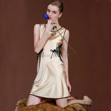 SSH016 Summer Style Sexy Silk Nightgown Sleepskirt Women Sleeveless Sleepwear Lounge Casual Satin Nightwear Female Lace