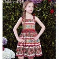 Meninas Vestido Sem Mangas com Rose Pattern 2017 Shoulderless Meninas Traje para As Crianças Roupas Vestidos de Festa De Criança Vestido Infantil