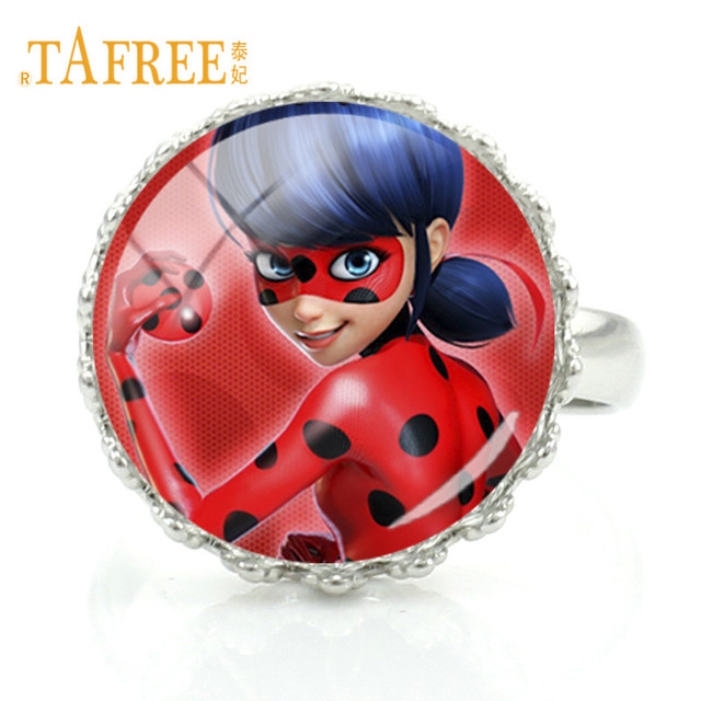 TAFREE  New Retro Ladybugs Girl and Black Cat Rings Fashion Women Men Kids Vintage Miraculous Ladybug Art Picture jewelry LB54