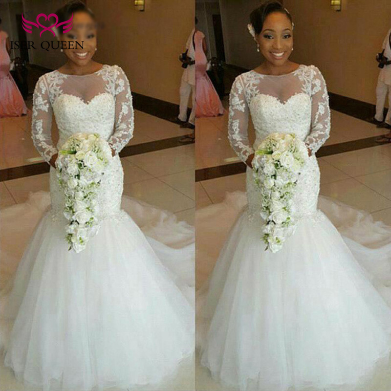 African Vintage Mermaid Wedding Dress Long Sleeve Embroidery Appliques Plus Size Pure White Bridal Gown Wedding Dresses W0154