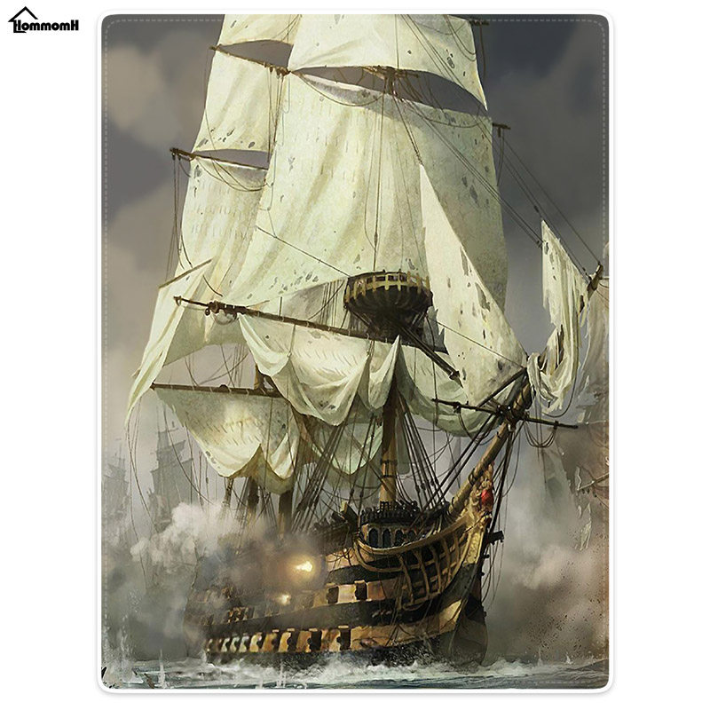 Blanket Comfort Warmth Soft Plush Sea voyage pirate ship sail Personality pattern Fashion