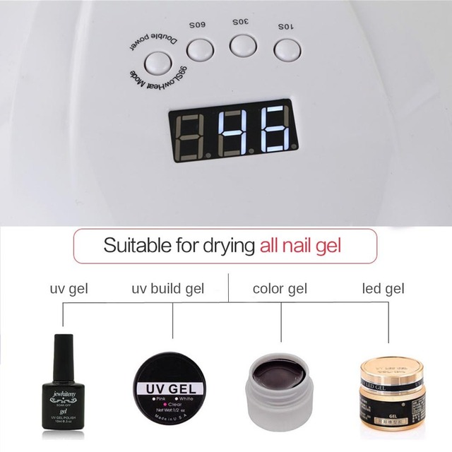 Jewhiteny SUNX 54W UV Lamp LED Nail Lamp Nail Dryer For All Gels Polish With Infrared Sensing 30/60/90s Timer Smart touch button 4