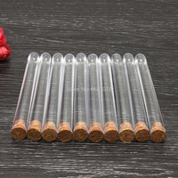 100pcs/lot 15x150mm Plastic Test Tube With Cork Stopper Clear Like Glass, Laboratory School Educational Supplies