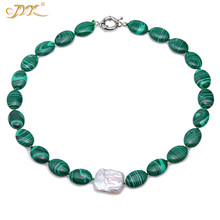 JYX Fashion 13*17.5mm Green Malachite necklace with baroque pearl Necklaces Elegant Nature Gemstone Jewelry For Mother gift 18
