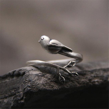 1PCS Unique Fashion Womens Jewelry Cute Bird Branch 925 Sterling Silver Ring Lovely Girls New Design Rings Accessories