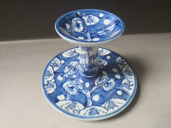 Chinese old porcelain blue and white porcelain Candlestick