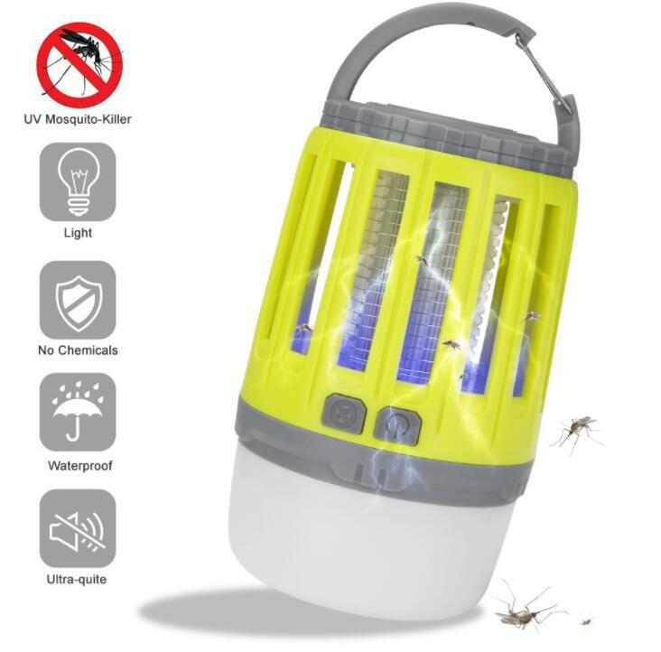 2 In 1 USB Rechargeable LED Mosquito Killer Lamp High/Low Light 360-400NM UV Mosquito Zapper Light For Bedroom Camping Tent