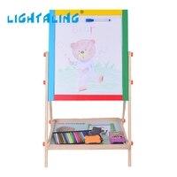 Lightaling Drewniane Dzieci Rysunek Zabawki Dwustronnie Sztalugi Tablica Magnetyczna Pisanie Malowanie White & Tablica Dzieci Zabawki