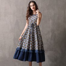 Fashion lady brand personality female clothing Spring summer stitching denim Vintage fashion suspender  Women dress