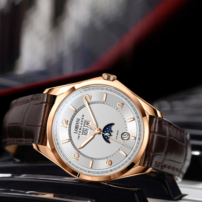 Switzerland Luxury Brand LOBINNI Watches Men Automatic Mechanical Men's Watch Multi-function Sapphire Moon Phase Clock L18016-3