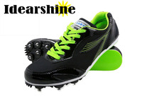 Men Unisex Running Tracking Spiking Shoes Mesh Lightweight Athletic Sport Training Shoes Black Yellow Green 6125