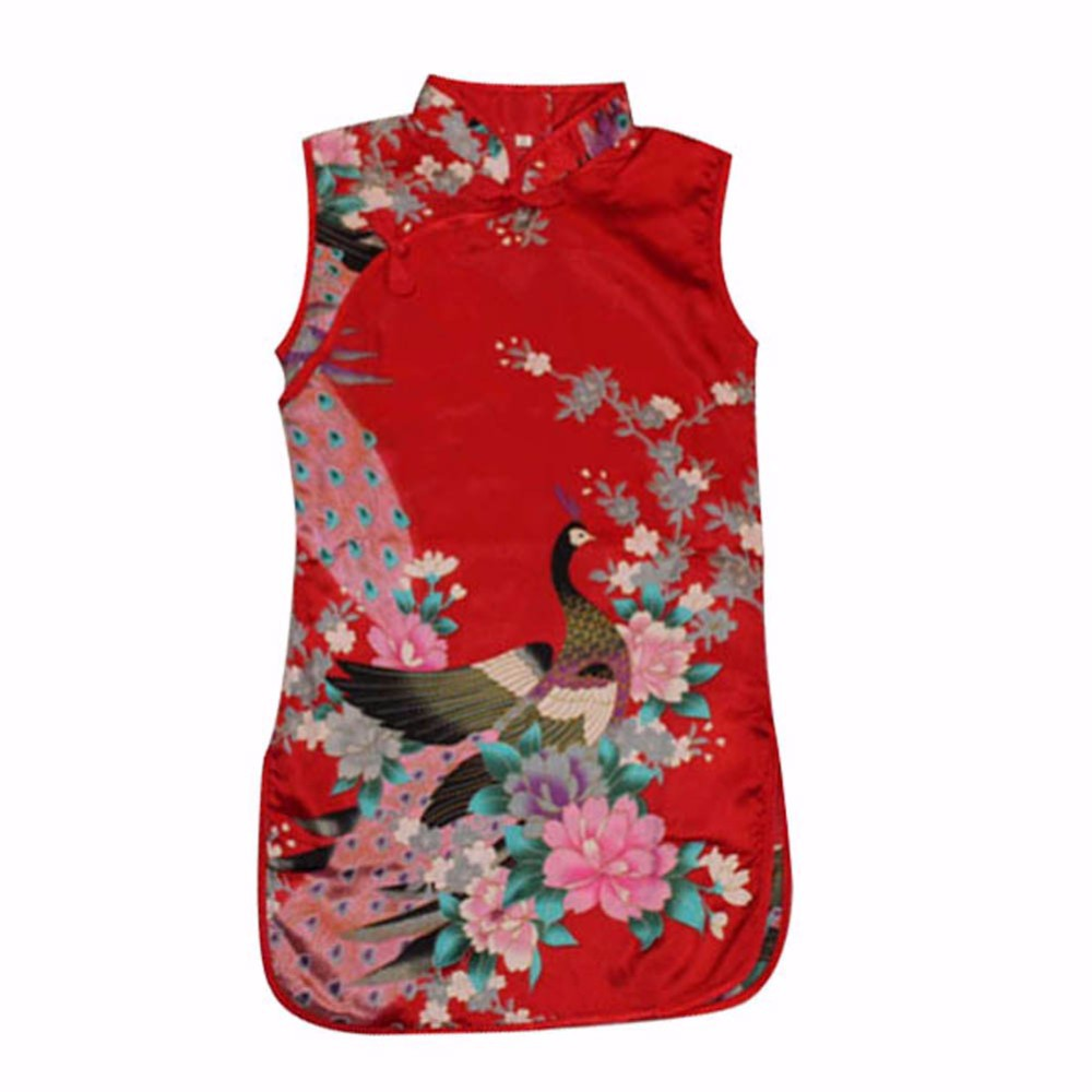Retro Classic Chinese Kid Girl Floral Peacock Chinese Cheongsam Baby Dress/Qipao Clothes free shipping new red hot chinese style costume baby kid child girl cheongsam dress qipao ball gown princess girl veil dress