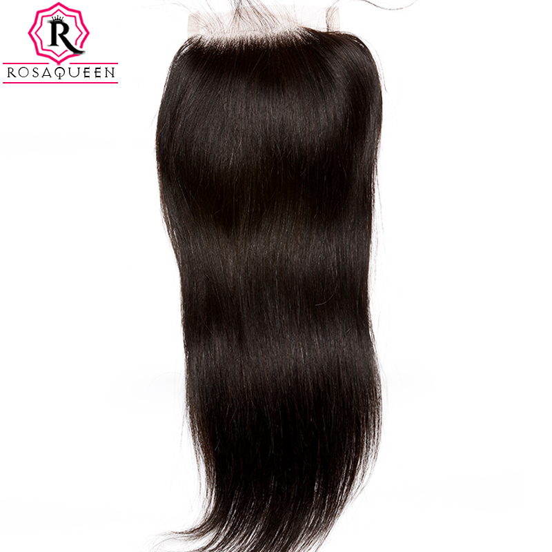 5X5 Lace Closure Brazilian Straight Closure Pre Plucked With Baby Hair Bleached Knots Remy Human Hair Rosa Queen Hair Products