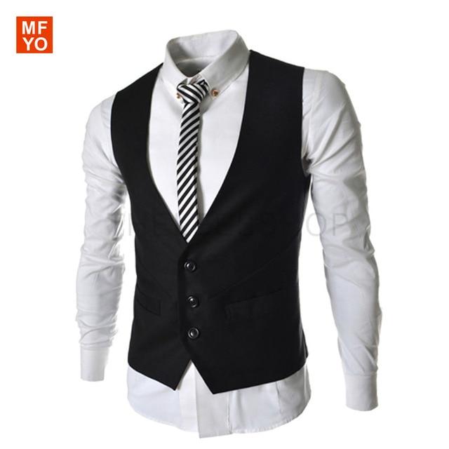 2016 New Arrival Vests For Men Slim Fit Mens Suit Vest Male Waistcoat Gilet Homme Casual Sleeveless Formal Business Jacket