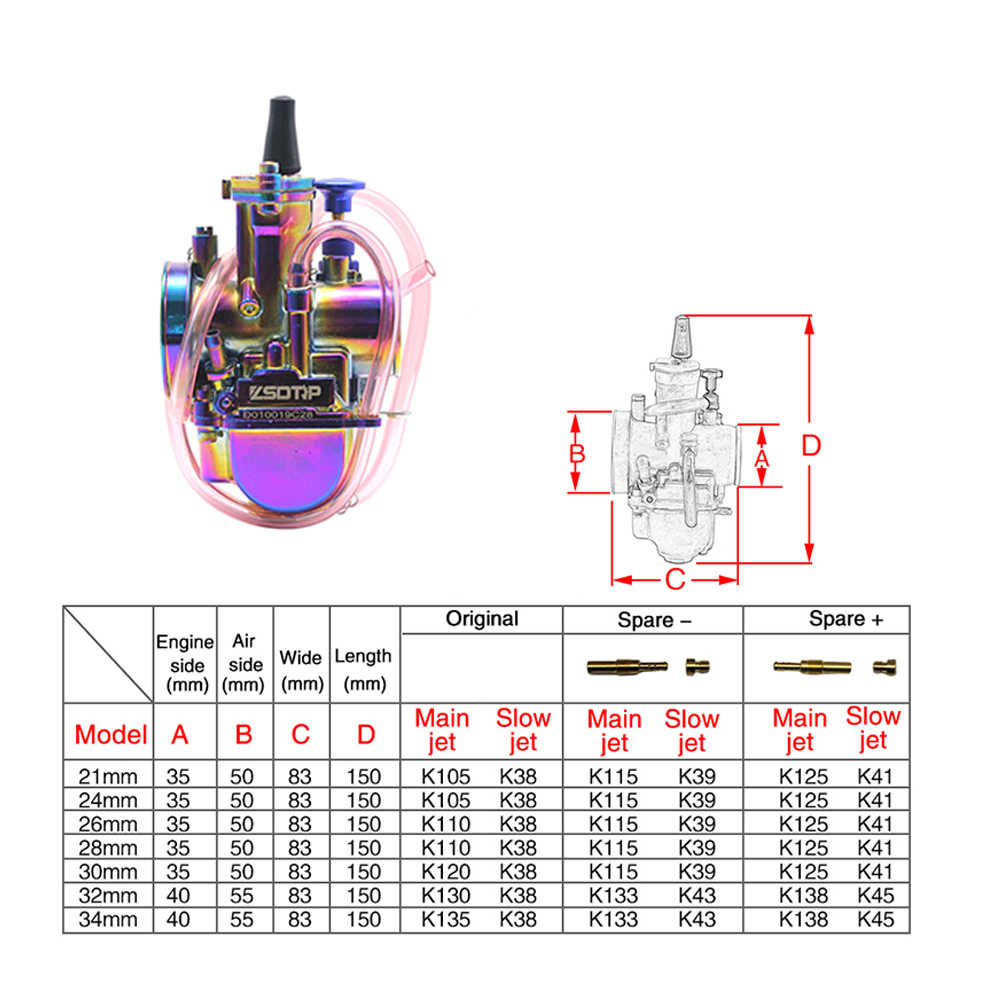 hight resolution of  zsdtrp new universal multicolor motorcycle carburetor 28 30 32 34mm with power jet dirt bike 4t