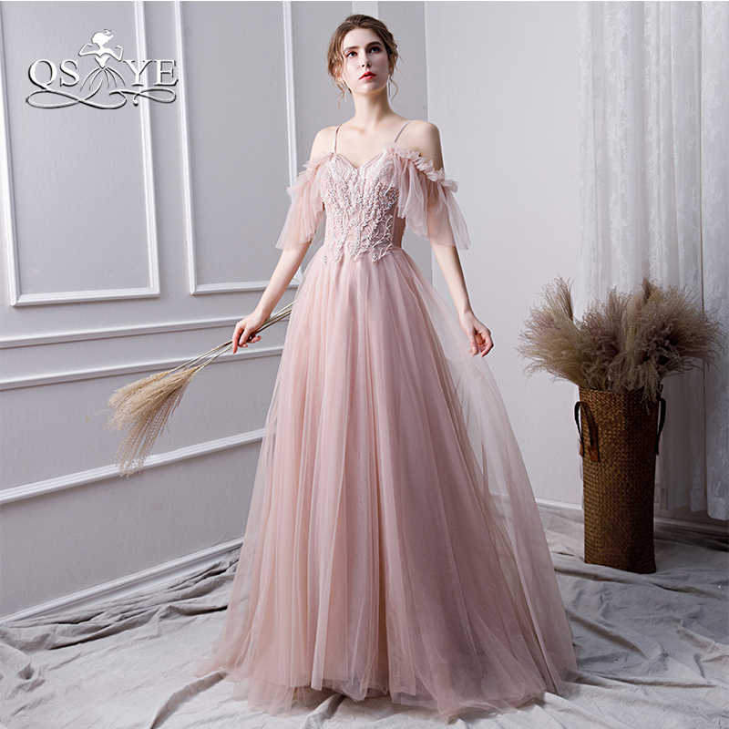 QSYYE 2019 New Blush Pink Long   Prom     Dresses   Robe de Soiree Lace Beaded Off Shoulder Tulle Evening   Dress   Party Gown