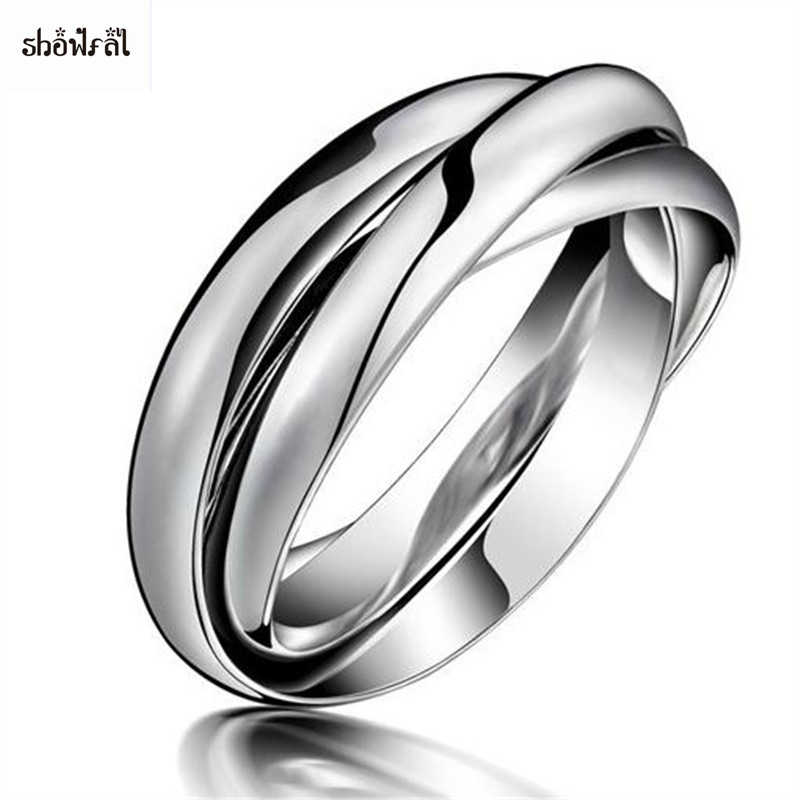 Steel Color Triple Band Rolling Ring 316l Stainless Steel 3 Bands Trinity Interlocking Interlocked Rolling Wedding Band Rings