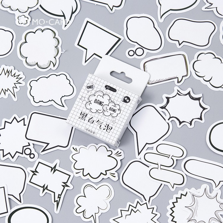 45pcs/pack Creative Black White Bubble Album Paper Label Stickers Crafts And Scrapbooking Decorative Sticker Cute Stationery