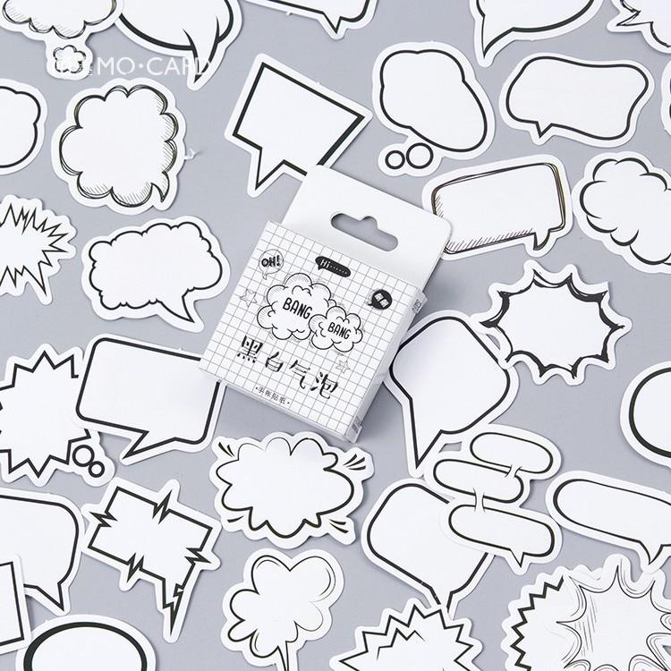 45pcs/pack Creative Black White Bubble Album Paper Label Stickers Crafts And Scrapbooking Decorative Sticker Cute Stationery