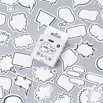 45pcs/pack Creative Black White Bubble Album Paper Label Stickers Crafts And Scrapbooking Decorative Sticker Cute Stationery - discount item  10% OFF Stationery Sticker