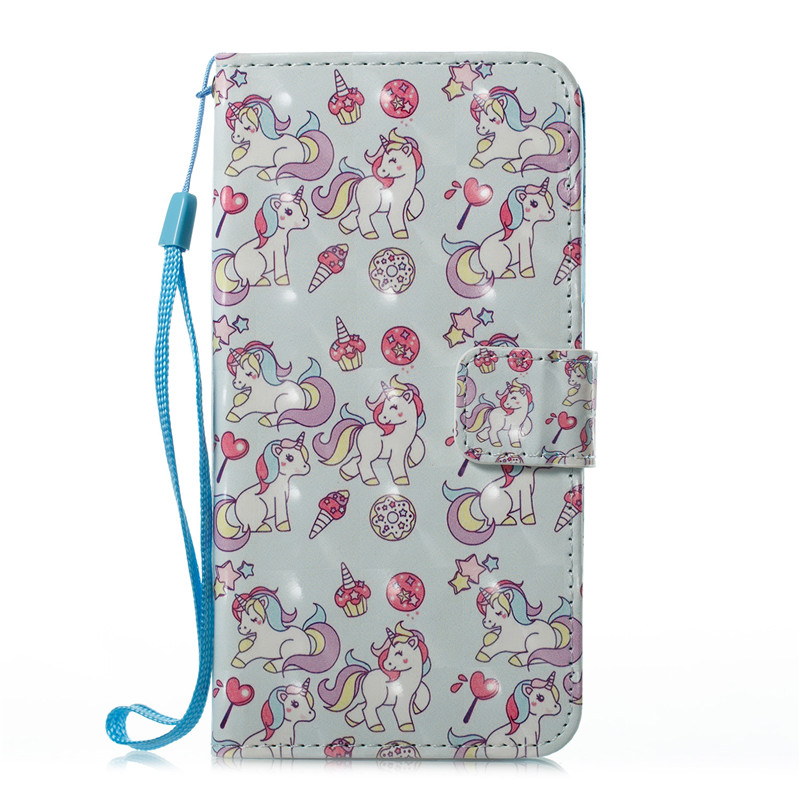 Case Coque Apple Iphone X 5 5S 6 6S 6Plus 6S 7 8 Plus Cute Cartoon Unicorn Butterfly Leather Flip Fundas Cover Case