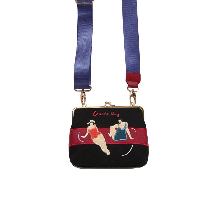 YIZISToRE della tela di canapa dell'annata splicing di cuoio DELL'UNITÀ di elaborazione del ricamo retro mini borse a tracolla per le donne in Un serie di Giorno di 2018 [DIVERTIMENTO KIK]