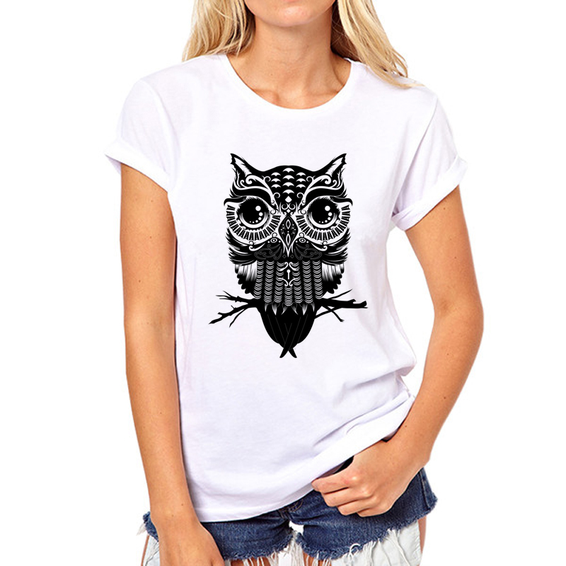 Designer o neck t shirts cool owl print women t shirt girl for Designer tee shirts womens