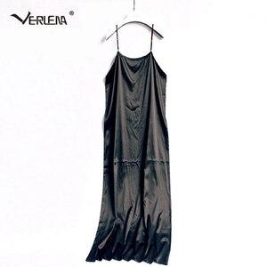 Image 3 - Verlena vestido de verano de talla grande de seda, 100%, negro, largo, sin mangas, tirantes, 2019 cm