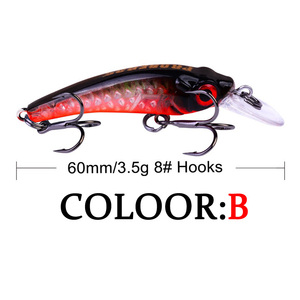 Image 4 - 1 sztuk Mini wobbler Jerkbait 6cm/3.5g laserowa twarda przynęta Minnow przynęty wędkarskie crankbait hook Bass świeże słonowodne tackle tonący