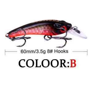 Image 4 - 1Pcs מיני wobbler Jerkbait 6cm/3.5g לייזר קשיח פיתיון מינאו Crank דיג פתיונות וו בס טרי מים מלוחים להתמודד עם שקיעת