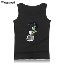 Wangcangli print Einstein Smoking funny T-shirt new hot sale O-neck sleeveless cotton bodybuilding tank top summer vest size 4xl