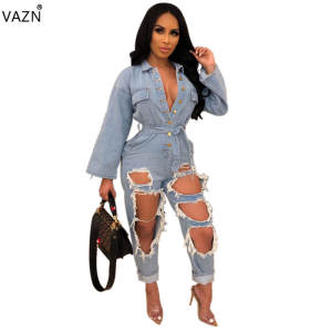 VAZN 2019 summer style women long sleeve jumpsuits pants