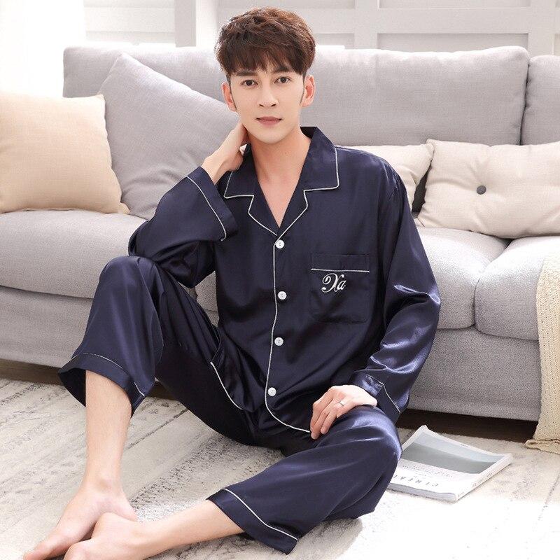 2019 New Men's Stain Silk Pajama Set Male Faux Silk Pyjama Homme 2 Pcs Night Shirts + Pants Home Wear Pijama Hombre Sleepwear