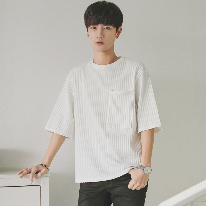 T Shirt Male Easy Round Neck Seven Part Sleeve Teenagers Short Student Tops personality city boy trend exquisite Fashion Best