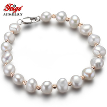 FEIGE Special offer Baroque style 7-8MM White Natural Freshwater Pearl Bracelets & Bangles For Women Fine Pearl Jewelry Pulseras nymph freshwater pearl bracelets fine jewelry near round natural pearl bangles for women white trendy anniversary gift [s313]