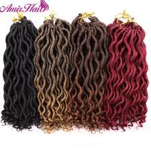 Amir Faux locs вьющиеся плетеные пряди волос 12 дюймов дреды волосы для наращивания богиня синтетические вязанные косички волос 12 прядей/шт