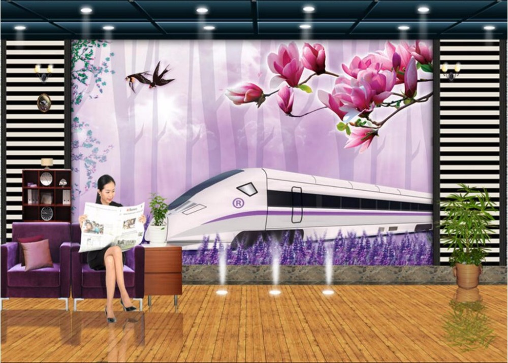 Compare prices on wall train track online shopping buy for Custom mural cost