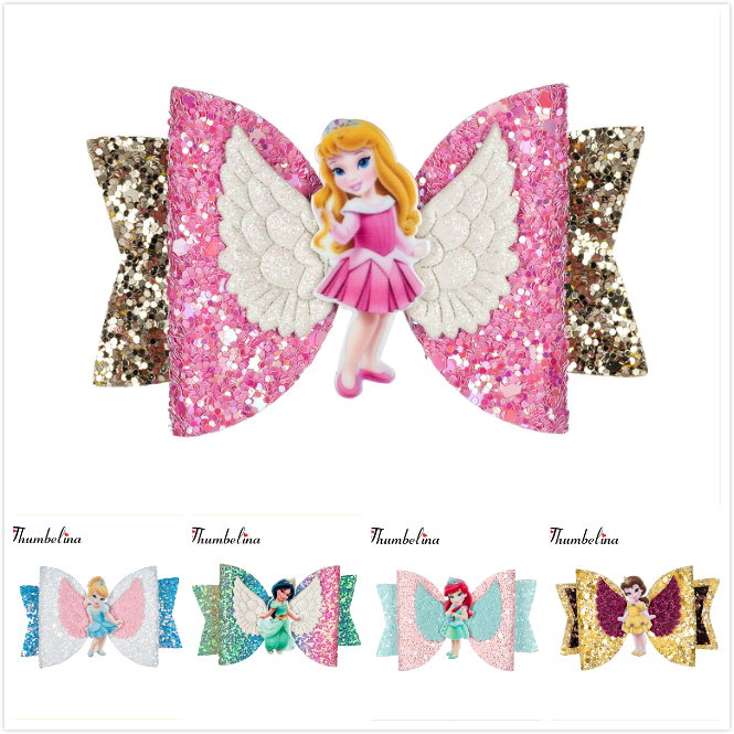 Thumbelina Princess Hairgrips Glitter Hair Bows with Clip Dance Party Bow Hair Clip Girls Hair Accessories rysunek kolorowy motyle