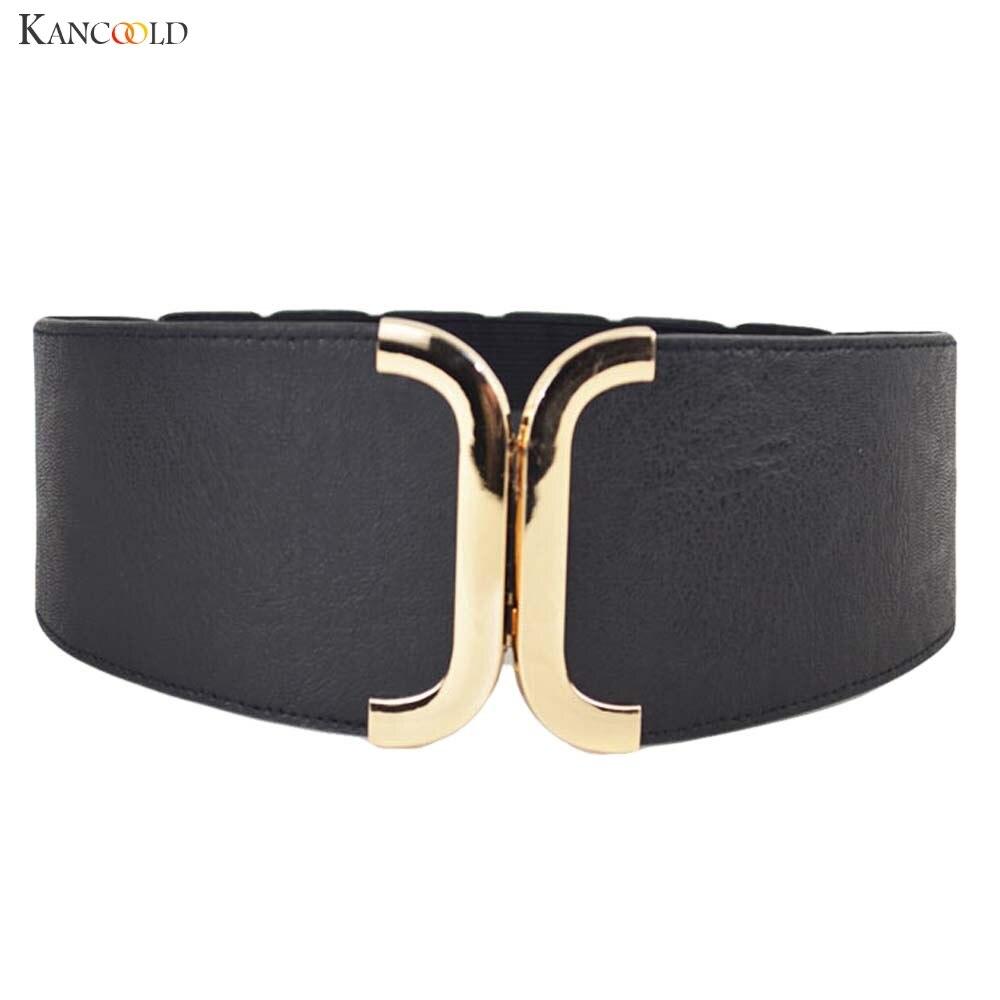 Fashion Female Brief Artificial Leather Wide   Belt   Women Elastic Cummerbund Strap Dress Accessories Alloy Buckle Girdle Aug19
