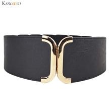 Fashion Female Brief Artificial Leather Wide Belt Women Elastic Cummerb